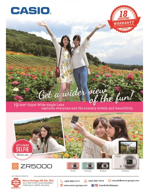 Casio EX-ZR5000-EX-ZR5000 now comes with new Super wide-angle 19-mm*lens that Captures everyone and the scenery widely and beautifully!