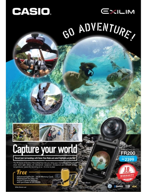 Casio EX-FR200-Capture photo & video with 185°angle of view is now possible With EX-FR200!