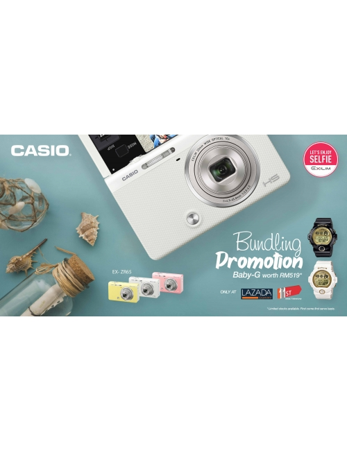 New Casio EX-ZR65 Bundling with Baby-G Watch-Checkout our latest incredible bundling package of Casio EX-ZR65 with your favourite Baby-G watches at Casio Official Store in Lazada & 11street for more surprises!