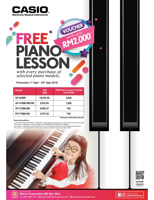 Casio Musical Instruments-Get your FREE Piano lesson voucher worth up to RM2,000! Only applicable for selected piano models. T&C apply.