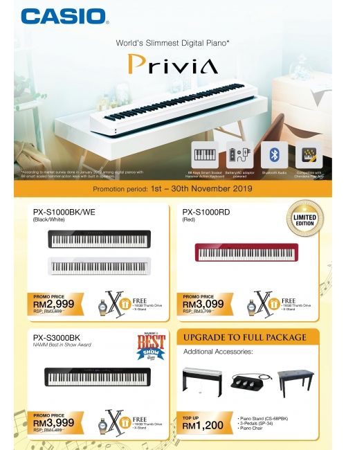 Casio Digital Piano Promotion-Get Freebies when you purchase Privia PX-S or Compact Digital Piano CDP-S from now until 30th Dec 2019.