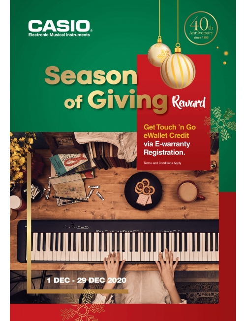 CASIO EMI Season of Giving Reward-Get Touch 'n Go eWallet Credit via E-warranty registration